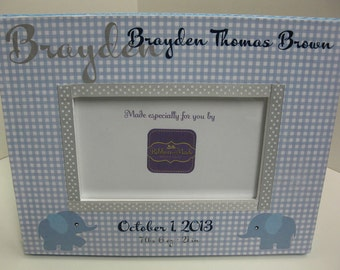 Baby Boy Birth Announcement Frame with Elephants