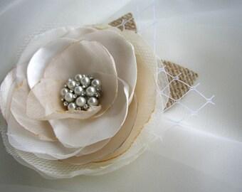 Rustic Wedding Hair Flower, Burlap Hairpiece, Ivory Champagne Hair Piece, Wedding Hair Accessories, Bridal Headpiece, Pearl Hair Flower Clip