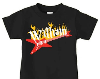 Personalized rock star t shirt, guitar t shirt for boys