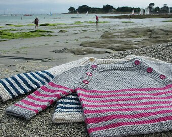 Langoz baby sweater pdf knitting pattern - French & English