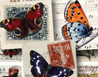 Butterfly Collage Sheet, 7/8 inch Square Printables, Butterfly Stamp Download, Digital Collage Sheet Vintage Butterflies - piddix 764