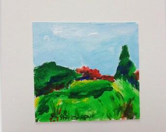 Landscape mini painting, tiny landscape 3 1/4 x 3 inches, original art gift, hostess gift, happy gift, mini landscape,