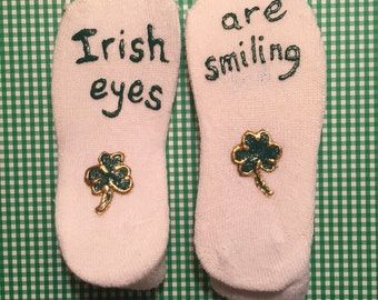 St. Patrick's Day Painted Socks Shamrocks Children's Size