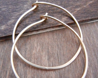 Gold Hoop Earrings, 14k Gold Filled, Medium Gold Hoops, Plain Hoops, Simple Gold Hoops