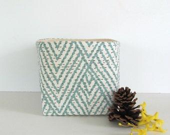 Fabric Storage Bin, Fabric Basket, Home Decor Planter, Yarn Bowl, Office Supplies Organizer Aqua Chevron