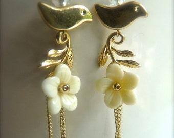 Off White  Cream Flower Bird and Leaf Dangle Long Earrings.  8