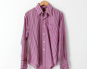 late 1960s men's striped button down, Jandy Place Barton Inc shirt with french cuffs