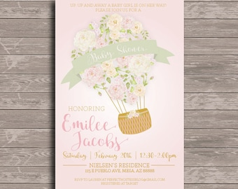 Floral Hot Air Balloon Baby Shower Invitation