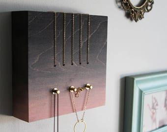 Jewelry organizer wall jewelry display necklace holder wood modern hanger contemporary brass gold storage -PERCH no1 Black and Pink gradient