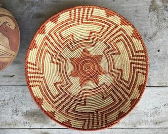 Vintage Coiled Basket in Faded Orange Bohemian Southwestern Decor