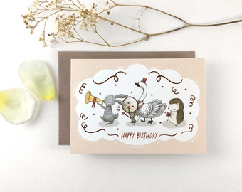 Happy Birthday, Animals on Parade - Copper Foil Greeting Card