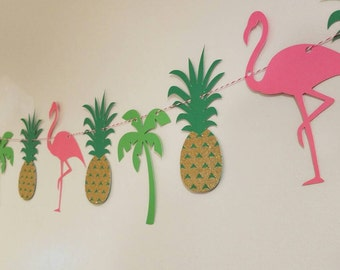 Luau party banner, flamingo banner, Hawaiian luau, Hawaiian party, pineapple party, pig roast, tiki party,  tropical party, tropical wedding