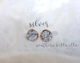 Silver or Rainbow Purple 10mm Druzy Stud Earrings with Rose Gold - Mother's Day Gift { Lead-Free, Nickel-Free }