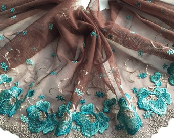 """BROWN & BLUE, 8.5"""" Wide, Embroidered Floral Lace Trim, BTY By The Yard"""