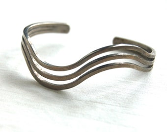 Wave Cuff Bracelet Sterling Silver Plated Triple Band Vintage Modern Jewelry Size Medium Modernist Gift for Her