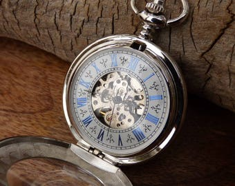 """Premium Victorian Silver & Blue Mechanical Pocket Watch, 15"""" Watch Chain - Engravable - Groomsmen Gift - Automatic Watch - Item MPW433"""