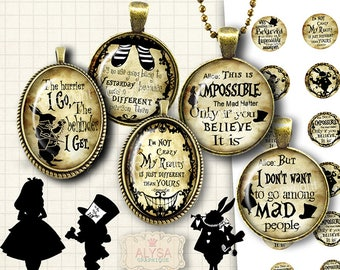 Mad Hatter , Alice in Wonderland Quotes -  Printable Digital collage sheets for Bottle Caps and Ovale pendants, Instant Download