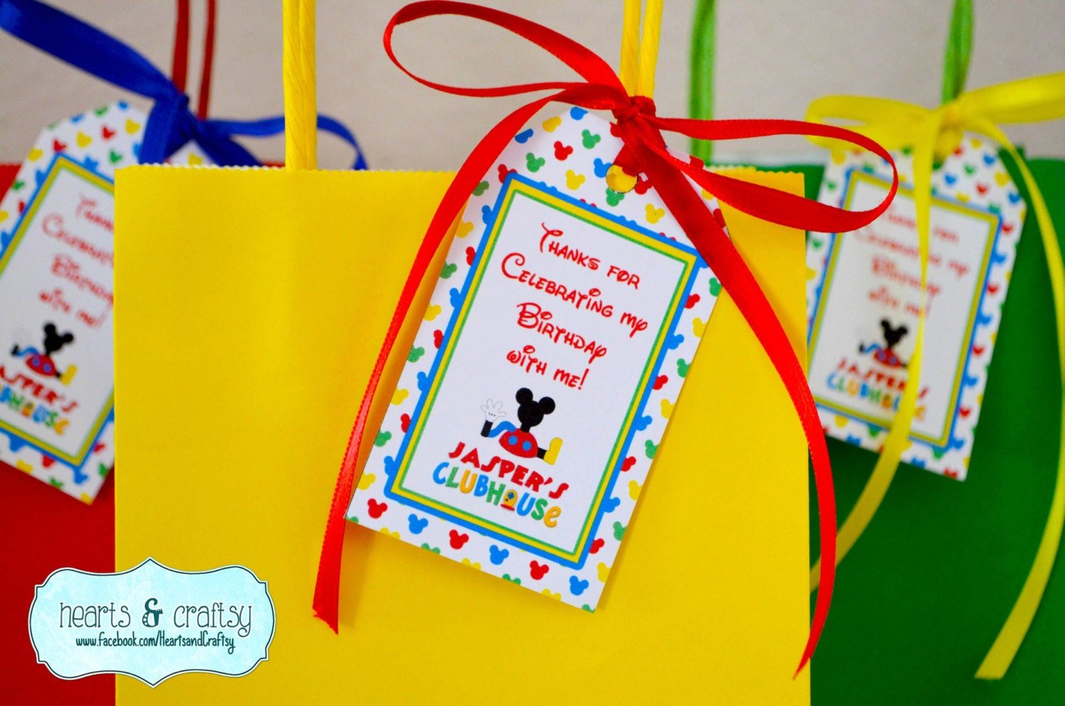 Mickey Mouse Clubhouse Party Favor Tags / Goodie Bag Tags /