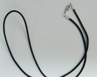"""18"""" Black Leather Necklace 2mm, Silver Lobster Clasp, Customer Favorite"""