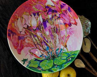 Artist signet porcelain Cyclamen bowl by Iryna Veshtak-Ostromenska, hand-painted unique piece