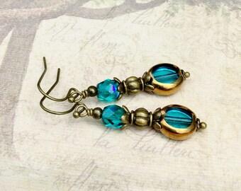 Aqua Earrings, Bronze Earrings, Blue Earrings, Gold Earrings, Czech Glass Beads, Gifts for her, Womens Earrings, Victorian Earrings
