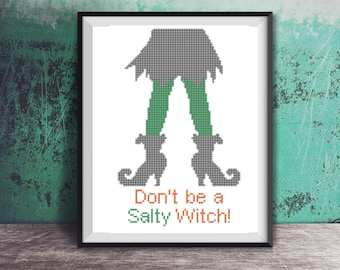 Halloween Don't be a Salty Witch Counted Cross Stitch Pattern - PDF Digital Download