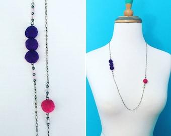 Kedzie Felt Necklace in Grape / Fuchsia