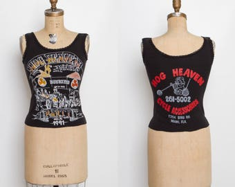 vintage motorcycle tank top | women's biker 1991 Hog Heaven Party Blarney Stone Tavern Miami Florida