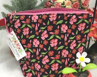 Floral Knitting Bag, Project Bag, Crochet Project Bag, Craft Bag, Utility Bag