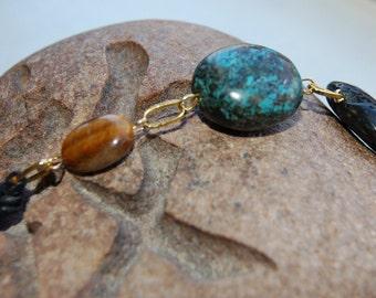 Lava / Turquoise / Tiger Eye Pendant Necklace