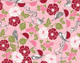 STORE CLOSING SALE - Riley Blake Designs, Remember, Flowers & Birds, Pink and Red, Carina Gardner, 100% Cotton Quilt Fabric, Floral Quilting