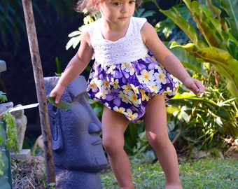 """Romper """"Kia'helava"""" purple frangipani sunset sunsuit, playsuit, baby girls, plumeria, islander style"""