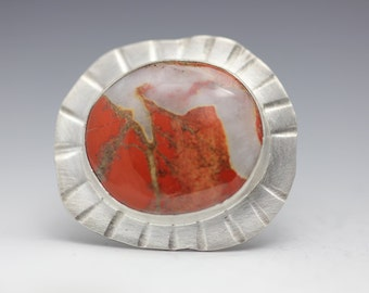 Brecciated Jasper and Sterling Ring, Red and White, Red Jasper Ring, Statement Ring, Size 8.5