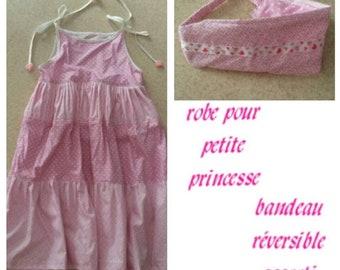 Dress and headband, summer dress, headband hair, dress has ruffles, pink