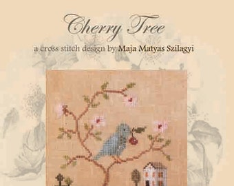CHERRY TREE official printed cross stitch pattern, primitive, sampler, spring, bird