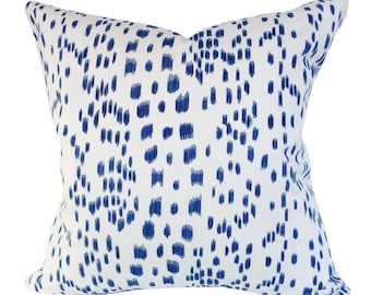 Brunschwig Fils Les Touches Blue Pillow Cover - Throw Pillow - Toss Pillow - Accent Pillow - Solid White Linen Back - ALL SIZES AVAILABLE
