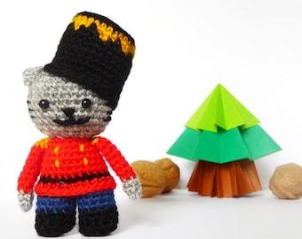 Nutcracker Cat Crochet Pattern - Christmas Crochet Amigurumi Cat Pattern