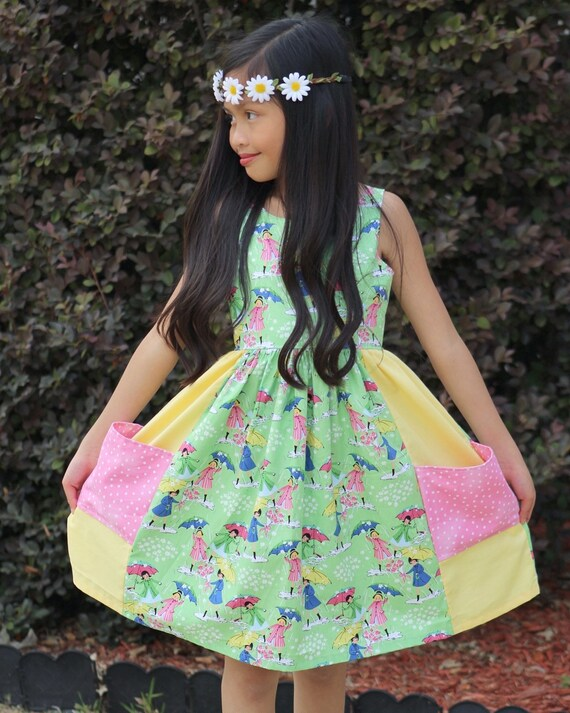 Girls Umbrella Summer Dress - Vintage Style Umbrella and Rain Boots Dress - Green and Yellow Summer Dress - Girls Pocket Dress