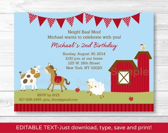 Cute Farm Animal Birthday Invitation / Farm Animal Invite / Barnyard Birthday Invitation / Any Age / INSTANT DOWNLOAD Editable PDF A260