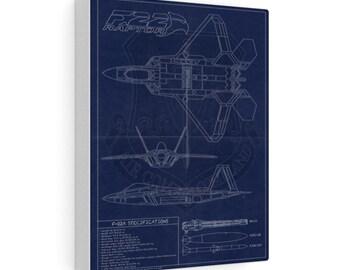 F-22 Vintage Style Blueprint Canvas Gallery Wraps