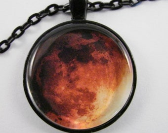 BLOOD MOON Necklace -- Total lunar eclipse necklace for a man or woman, Astronomical art