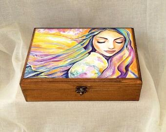 Angel of silence, inspirational art, spiritual painting, divine feminine, wooden gift box, jewelry box, 7x10