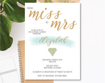 Printable Bridal Shower Invitation - Miss to Mrs - Blue, Gold - Customizable Text - 5x7 .JPEG Digital Download