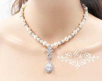 Wedding Necklace Single Strands Swarovski Pearl Necklace Zirconia Necklace Bridal Necklace Bridal Jewelry Bridesmaids Necklace - ABBIE