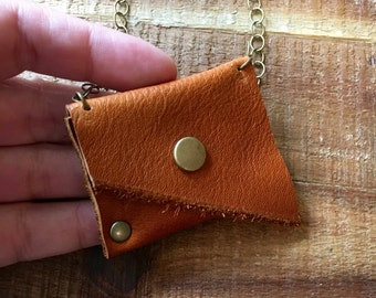 Crystal Holder - Leather Jewelry - Light Brown - Talisman Pouch Necklace - Soft Dark Brown Leather - Amulet Bag Necklace