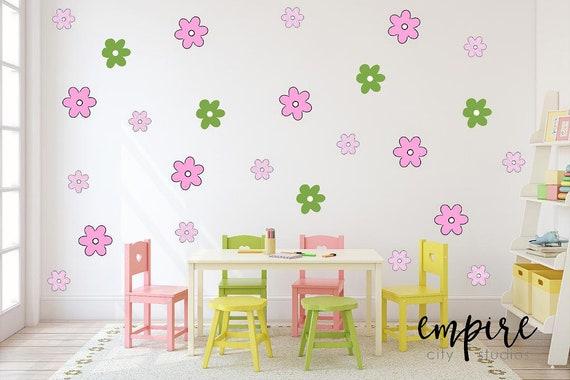 Small Flowers Wall Decal-Stylized Flower Decals-Girls Wall Decor-Girls Vinyl Decals-Cartoon Flowers-Comic Flower Outlines