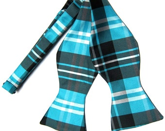New Men's Plaid Black Turquoise blue White Self-Tie Bowtie, for Formal Occasions 2012