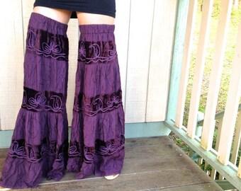 Leggings flared purple velvet bellbottom legs upcycled