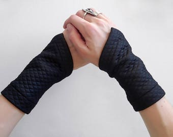 Black arm warmers wrist black cuffs fabric bracelets cyberpunk short fingerless gloves jersey wrist tattoo cover gauntlets sci fi GAU-L