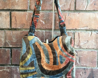 1970's Fuzzy Print Hippie Hobo Bag